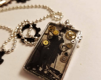Steampunk Gear Photo Resin Necklace