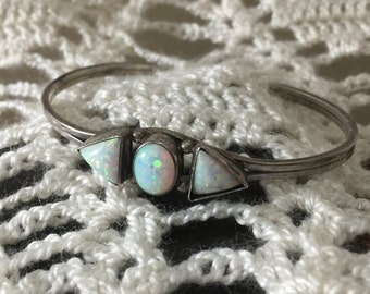 Vintage Opal Stones Set In a Sterling Silver Band