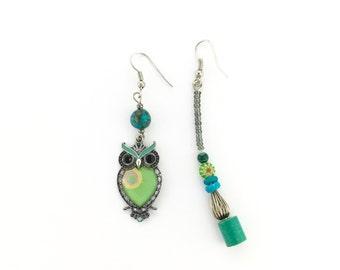 Asymmetrical Green Owl Earrings With Malachite and Millefiori Murano Glass
