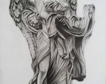 Pencil drawing of an angel statue