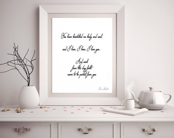 Jane Austen Wall Art, Pride and Prejudice Print, Bedroom Decor, Jane Austen Quote Art, Romantic Print, Mr Darcy Quote, You have bewitched me