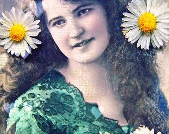 WILD -  quality art print of woman with daisies in her hair on archival paper