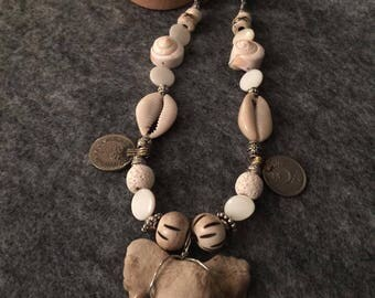Stunning, Beach-y, Boho-Chic Beaded Genuine Shark's Tooth Necklace-30""