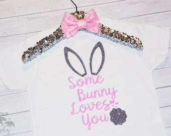 Baby Girl's Some Bunny Loves You Shirt, Easter Onesie, Easter Outfit, Toddler Easter Shirt, Easter Outfit