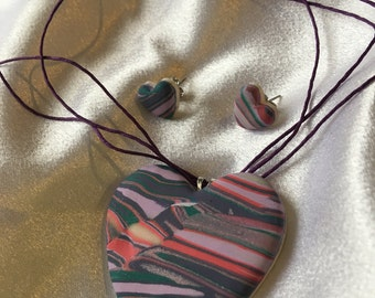 Striped Heart Necklace and Earrings