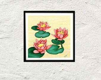 Painting water lilies flower zen lotus art print painting art print digital wall art poster yoga corner