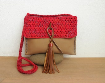 Crochet, lede, r cotton tapes, boho, leather tassel, Henkel, leather straps, cross body, red, dark brown, handmade crochet bag