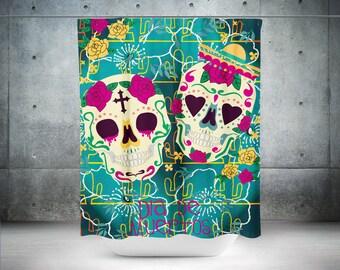 Sugar Skull Shower Curtain,Skull,Rose Skull,Sugar Skull,Bathroom Decor,Calavera Curtain,Day Of The Dead Curtain,Dia De Los Muertos Bathroom