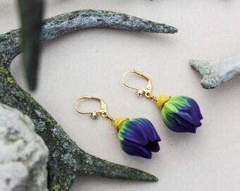 Romantic jewelry Tulip earrings Flower earrings Bud earrings Summer earrings Floral earrings Statement earrings Polymer jewelry Gift for her
