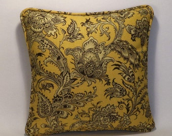 """Floral Decorative Throw Pillows, 2 18"""" Designer Throw Pillows Vervain Bardelino Sunshine Yellow Floral Accent Pillows with Forms,HomeDecor"""