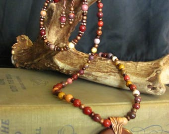 Mook / Mookaite Jasper necklace, earrings and bracelet