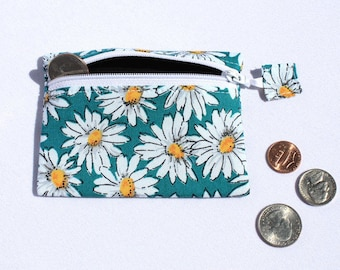 Daisy Coin purse, small pouch, zipper pouch, zipper wallet