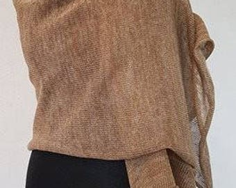 Light brown linen scarf, brown scarf, brown linen scarves, light brown scarves, summer scarf, summer scarves, knit scarf, knit scarves