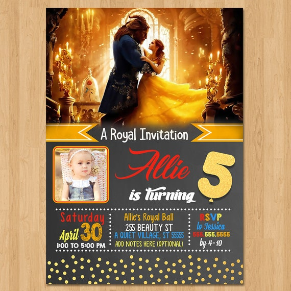 Beauty and the Beasty Invite - Chalkboard Red and Gold - Beauty & the Beast Movie Invite - Photo Invitation - Party Favors - Printables