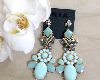 Mint Chandelier earrings, Gold Green Mint and Serenity Blue chandelier dangle earrings