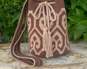 Brown and beige style Wayuu bag