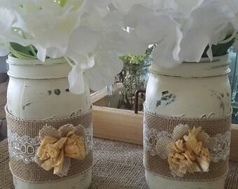 Distressed Vintage Mason Jar Vase