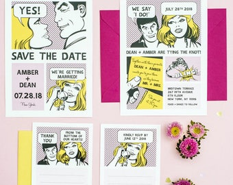 The Comic Strip Unique Wedding Invitation Printable Set of 4