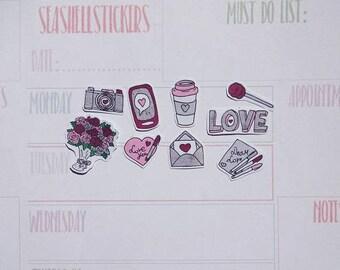Romantic love stickers, lolliop stickers, bird stickers, floal stickers, love stickers, coupe dating planner stickers, valetine day stickers