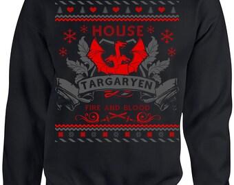 Game of Thrones. Ugly Christmas Sweater. Game of Thrones Sweatshirt. Ugly Sweater House of Targaryen. Unisex Sweatshirt