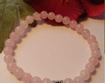 Quartz Bracelet Pink quartz mala bracelet Aum om ohm gemstone 6 mm beads yoga mala bracelet silver ohm charm