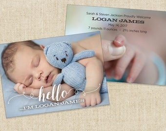 Birth Announcement, Baby Announcement (5x7 - 2 sides) Printable file or Printed Cards.