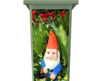 Gnome In The Flowers Wheelie Bin Sticker Panel