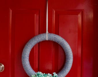 "Shades of Blue 18"" Yarn Wreath"