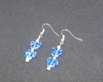 Blue Murano Heart Earrings.