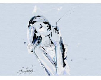 Candice Swanepoel Painting Fashion Illustration Wall Art Original Signed comes matted