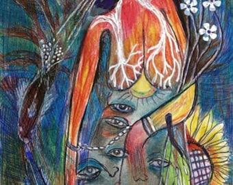 Original Surreal Mindscape Dream Maker Art Chaos Brut Eyes Watching