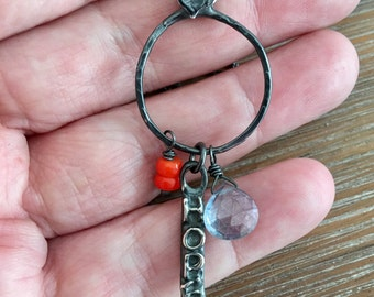 Sterling Silver, Coral, Chrysoprase, and Blue Quartz Charm Necklace