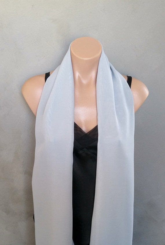 Gray Sheer Chiffon Scarf Wrap Grey Shawl Silver Stole Gray Wrap Scarf Sheer Gray Wrap Gray Evening Wrap Gray Scarf Wrap Gray Shawl Wrap