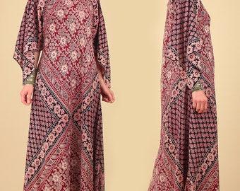 Indian Cotton Caftan Bohemian Dress ViNtAgE 70's India Angel Wing Maxi Hippie Boho Festival Dress Block Print Printed Kaftan Free Size