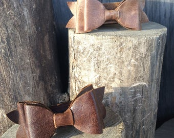"""Distressed Chocolate Brown Leather Bow Cuff size 7 3/8"""" by Stacy Leigh"""