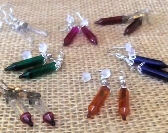 Light bulb, Flash bulb Earrings, Color Choice, Ln414, Steampunk, Altered Art, Captian Nemo, Futuristic, Post Apocalyptic, by Lynn