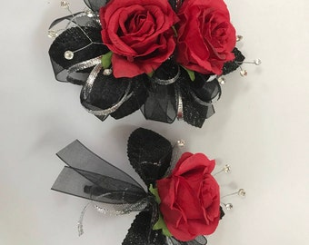 Red Black and Silver Corsage Set  Prom / Wedding