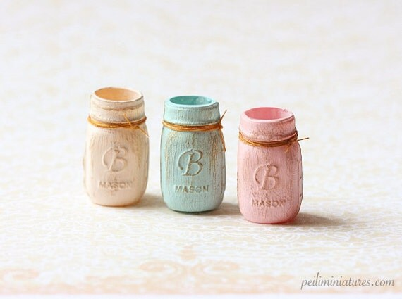 Dollhouse Miniature Accessories - Shabby Mason Jar 1/12 Dollhouse Miniature Scale