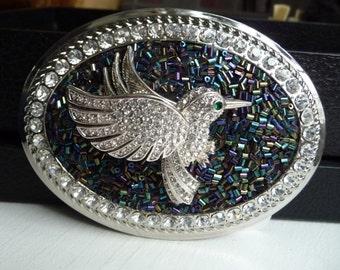 Hummingbird Belt Buckle - Women's Custom Belt Buckle - Sparkling Rhinestones - Silver Oval Buckle - Fun Accessory- Unique Gift Idea for Her