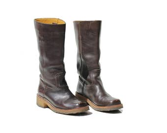 Dark Brown Leather Mid Calf Pull On Boots / size 6.5