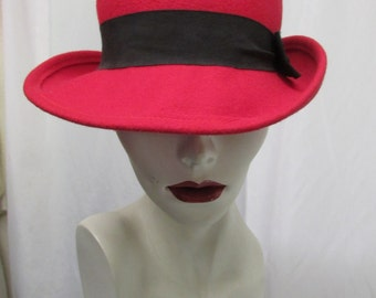 Vintage 1970's Hat Red with Black Hatband ~ Arlin Label Made in the U.S.A. Ladies Fedora
