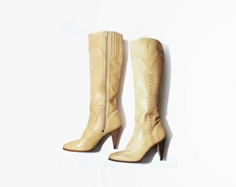 1970's Knee High Braided Beige Leather Boots