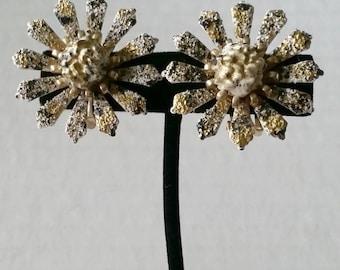 Coro Earrings Big Flowers gold black white textured enamel finish. clip on vintage costume jewelry