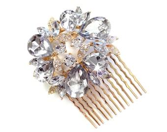Gold Wreath Hair Comb - Vintage Style Hair Piece - Bridal Comb - Wedding Hair Comb - Rhinestone Brooch - Wedding Hairpiece
