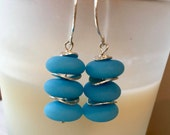 "Triple Stacked Bright Blue ""Sea Glass"" Drop Earring Beach Wear Summer Jewelry"