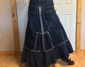 Long Denim Maxi Skirt/Plus Size Blue Jean Skirt/Stretch Denim/Dark Denim/Recycled Jeans/Upcycled Denim/Repurposed/Womens Size XL/Size 16/18