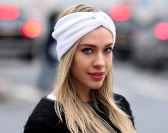 Ear Warmer Cashmere Turban Headband Women's Headband Ivory Cashmere Knit Headband Winter Accessory Gift For Her Boho Headband Wide Headband