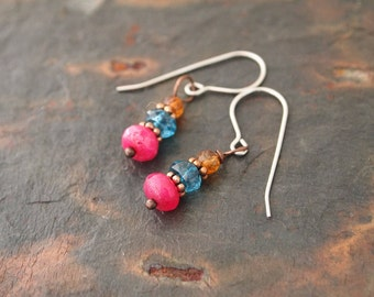 Tourmaline, Topaz and Ruby Earrings