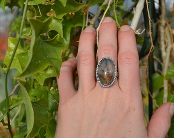 Tree Ring Plume Agate and Sterling Silver Big Ring Size 7