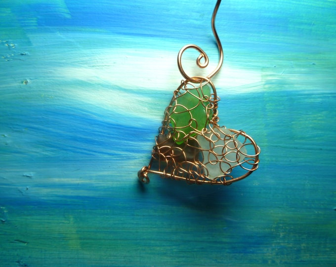 Sea Glass Heart Ornament - Copper Ornament - Valentine's Day Gift - Lake Michigan Beach Glass Sun Catcher - Rear View Mirror Charm